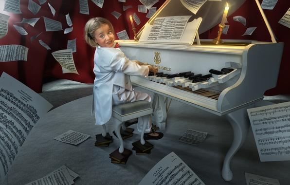Картинка музыка, девочка, пианино