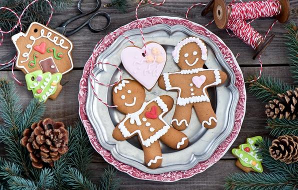 Картинка зима, ветки, сердце, еда, ель, человечки, Новый Год, печенье, Рождество, сладости, домик, ёлка, нитки, Christmas, …