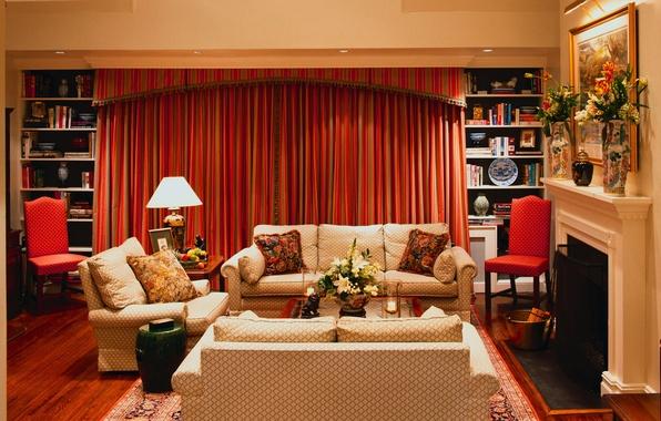 Картинка цветы, комната, мебель, картина, камин, шторы, столик, диваны, вазы, книги.