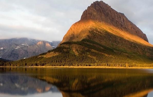 Картинка зелень, лес, вода, природа, скала, озеро, гладь, ландшафт, гора