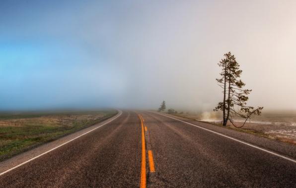 Картинка дорога, туман, обои, широкоформатные