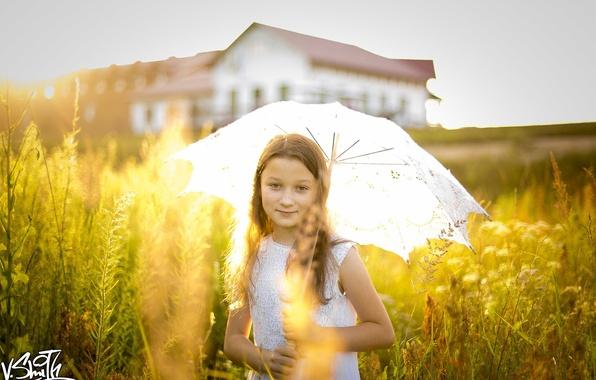 Картинка зонт, девочка, Владимир Смит, Vladimir Smith