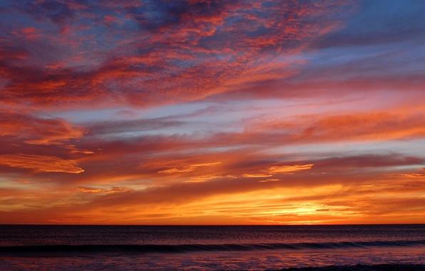 Картинка море, волны, облака, закат
