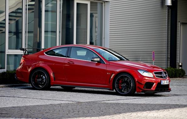 Картинка красный, купе, Mercedes, red, мерседес, AMG, Coupe, Black Series, C63