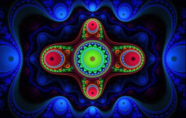 Картинка свет, узор, цвет, фрактал, полумрак, симметрия