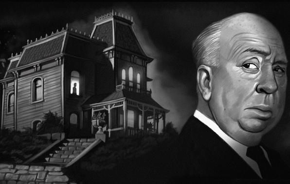 Картинка ночь, дом, окно, арт, psycho, Alfred Hitchcock, Hitchcock