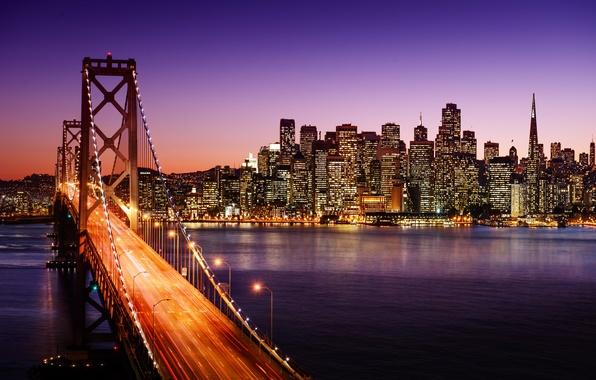 Картинка дорога, вода, ночь, мост, город, огни, пролив, здания, дома, небоскребы, выдержка, освещение, фонари, Калифорния, Сан-Франциско, …