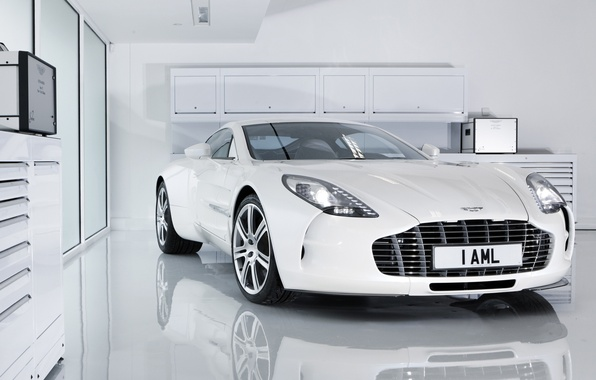 Картинка белый, отражение, Aston Martin, бокс, астон мартин, white, One-77