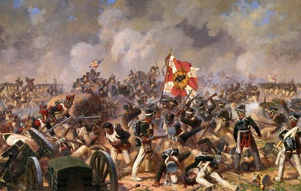 Картинка война, дым, солдаты, битва, русские, знамя, французы, отечественная война, раненые, бой за багратионовы флеши, аверьянов
