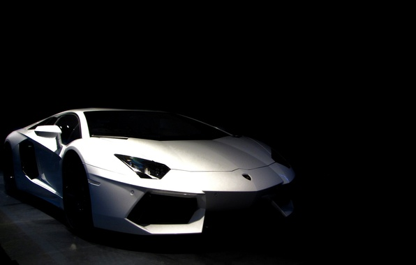 Картинка фото, фон, обои, черный фон, cars, auto, Суперкар, White, wallpapers, LP700-4, Supercars, Lamborghini Aventador, wallpapers …