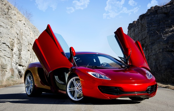Картинка красный, суперкар, red, supercar, sky, макларен, mp4-12c, Mclaren