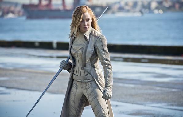 Картинка wallpaper, gun, long hair, sea, bat, blonde, ship, hero, pier, port, powerful, Sara, strong, uniform, …