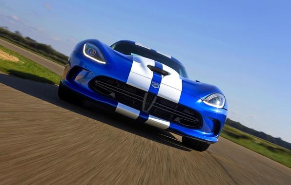 Картинка Авто, Синий, Полосы, Додж, Dodge, Фары, Viper, GTS, SRT, Передок, Спорткар