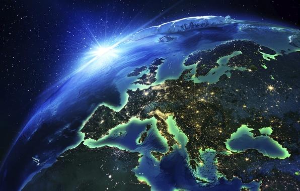 Картинка Earth, europe, urban populations, contienente