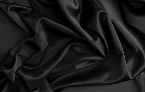 Картинка текстура, шелк, черная, ткань, складки, сатин
