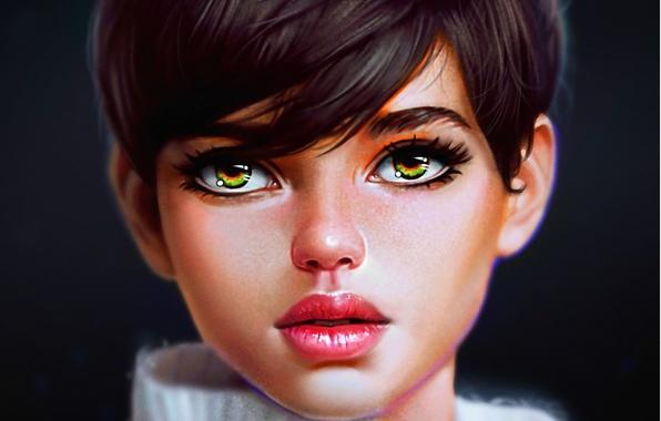 Картинка взгляд, девушка, стрижка, арт, зеленые глаза