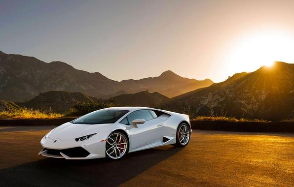 Картинка Lamborghini, Front, Sunset, White, Supercar, Huracan, LP640-4, Moutian