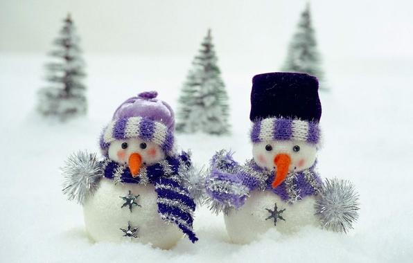 Картинка снег, игрушка, елка, шарф, снеговики, детское