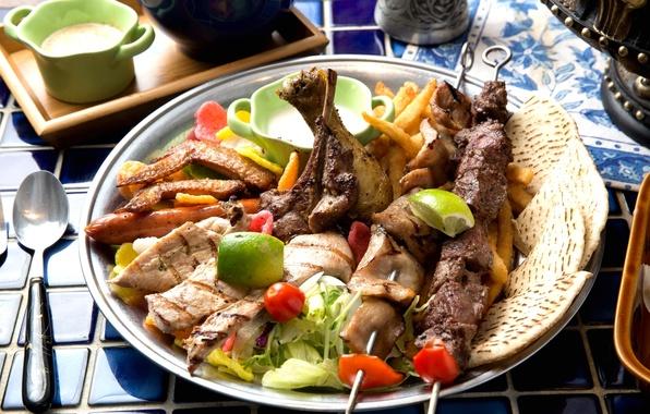 Картинка мясо, овощи, шашлык, ассорти, хлебцы
