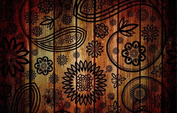 Картинка цветы, фон, дерево, узоры, рисунок, текстура, лепестки