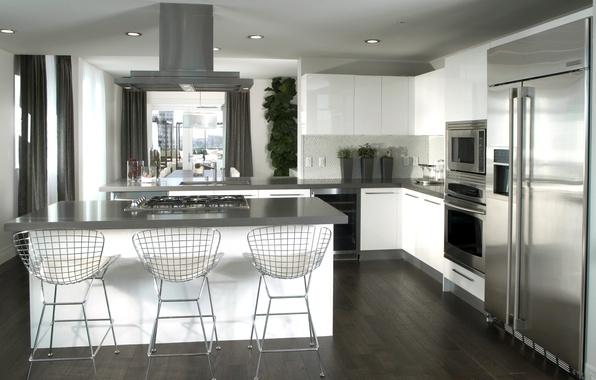 Картинка дизайн, фото, стол, стулья, интерьер, холодильник, кухня