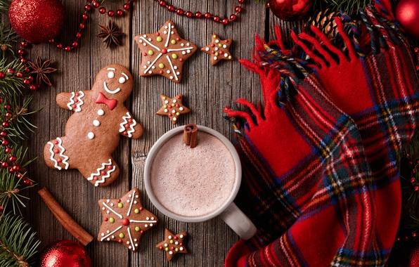 Обои Новый Год, печенье, Рождество, Christmas, выпечка, Xmas, глазурь, какао, cookies, decoration, gingerbread, Merry