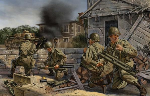 Картинка город, огонь, война, улица, дым, рисунок, Франция, выстрел, арт, солдаты, танк, гранатомёт, подбитый, ручной, готовность, …