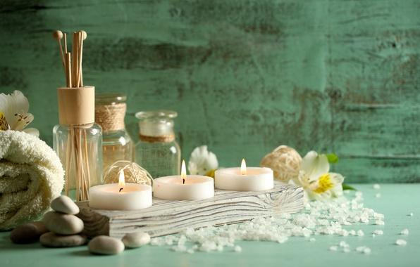 Картинка камни, масло, полотенце, свечи, спа, соль