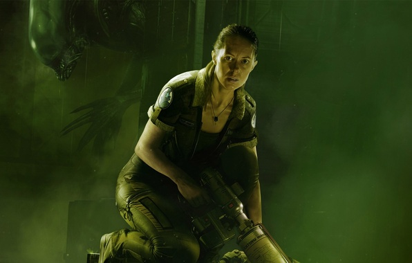Картинка взгляд, девушка, страх, жертва, монстр, Чужой, инопланетянин, пар, охотник, Ксеноморф, SEGA, Alien: Isolation, Чужой: Изоляция, …