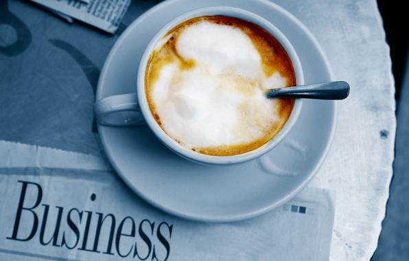 Картинка кофе, сливки, кружка, газета, ложечка, блюдце, пенка