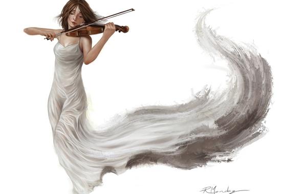 Картинка девушка, белое, скрипка, платье, арт, музыка. фон