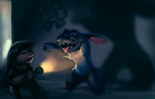 Картинка ночь, комната, темно, девочка, фонарь, пришелец, Stitch, Лило и Стич, Lilo