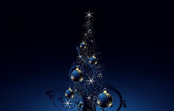 Картинка звезды, свет, сияние, праздник, елка, новый год, искры, new year, синий фон, happy new year, …