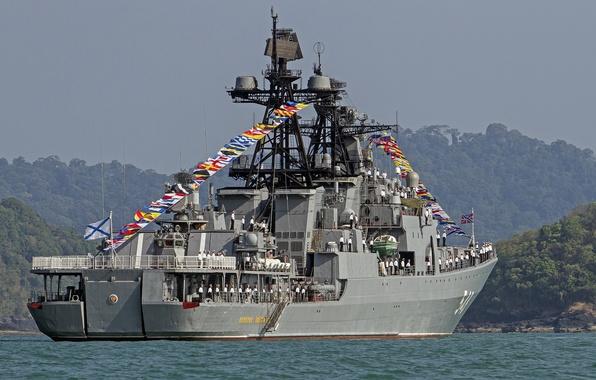 Картинка корабль, большой, Россия, моряки, противолодочный, Адмирал Пантелеев