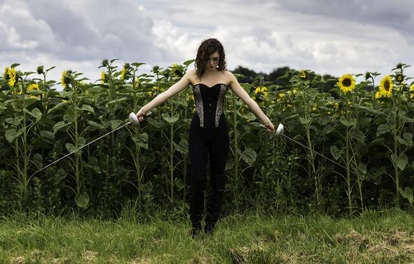 Картинка поле, девушка, фигура, шпаги