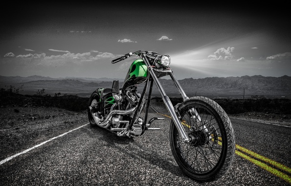 Картинка дорога, дизайн, стиль, мотоцикл, байк, чоппер