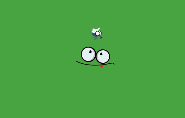 Картинка язык, зеленый, муха, Лягушка, засада, охота
