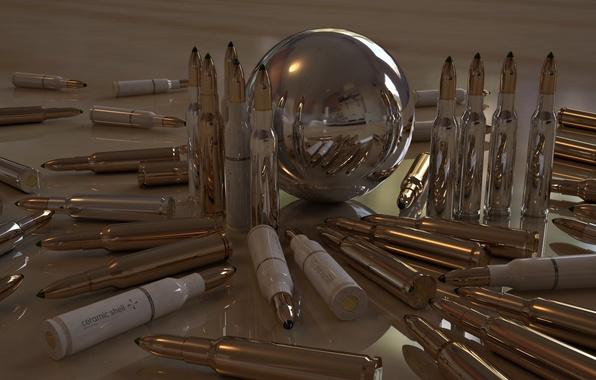 Картинка отражение, блеск, шар, пули, патроны, гильзы