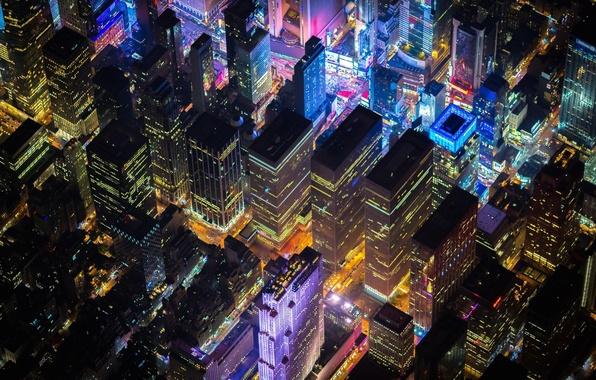 Картинка lights, USA, United States, night, New York, Manhattan, NYC, New York City, evening, buildings, America, …