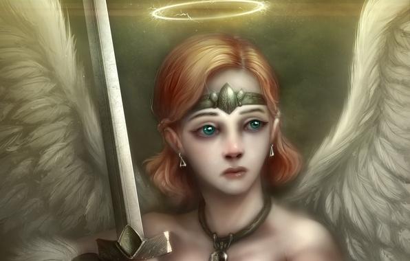 Картинка девушка, крылья, ангел, меч, арт, нимб