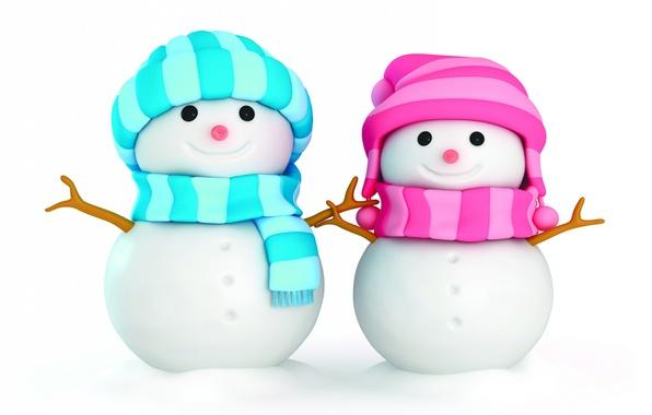 Картинка зима, новый год, снеговики