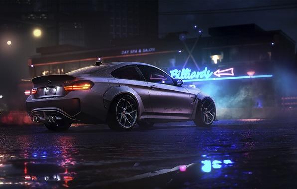Картинка BMW, Dark, Car, Night, Rain, Sport, Rear