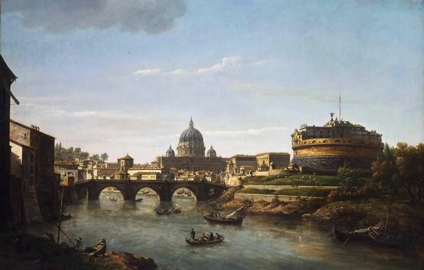 Картинка небо, облака, мост, река, люди, лодка, башня, картина, собор, купол, рим, William Marlow, тибр