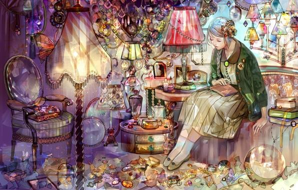 Картинка девушка, камни, лампы, книги, коса
