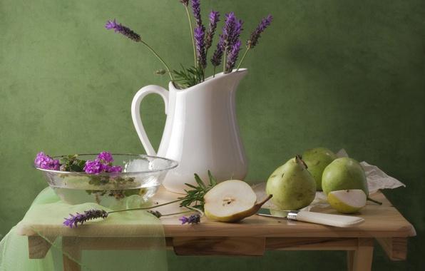 Картинка цветы, стол, нож, кувшин, натюрморт, груши, лаванда