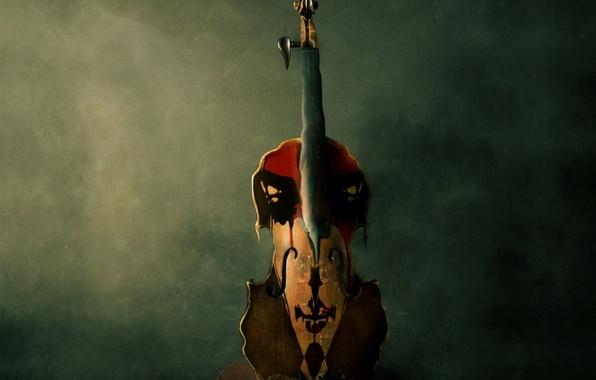 Обои картинки фото скрипка, рисунок, подтеки, краска