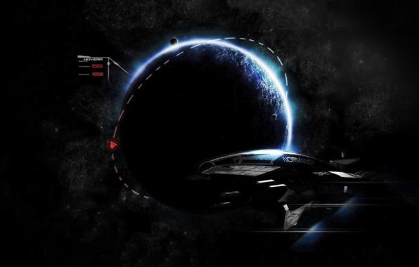 Картинка космос, игра, корабль, планета, game, летит, нормандия, mass effect, normandy