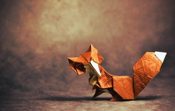 Картинка тень, лиса, хвост, fox, оригами, tail, origami, looking, shadow, глядя