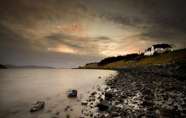 Картинка море, камни, берег, Шотландия