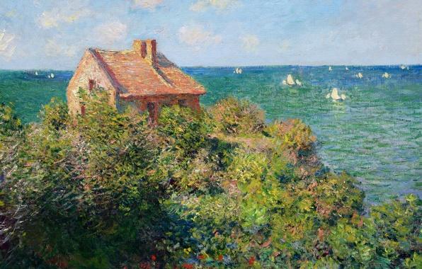 Картинка небо, облака, пейзаж, дом, лодка, картина, парус, Клод Моне